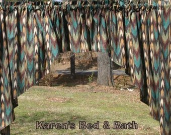 Southwestern Curtains Swags Handcrafted Custom Sewn From Brown & Turquoise Arrow Stripes  3pc Kitchen Curtain Swag Valance Set t4/29