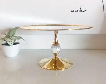 Elegant Valerio Albarello 24K Gold Electroplated Brass Cake Stand with Faceted Swarovski Crystal, Rare Signed, Hard to Find Cake Stand