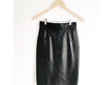1980's ALAÏA Leather Pencil Skirt, Size 38 / Waist 25