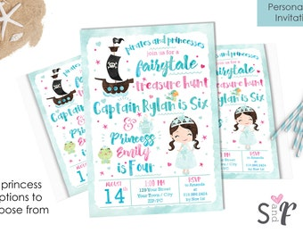 Personalized Princess & Pirate Party Invitation - Watercolor Pirate and Princess Printable Invitation - Sibling Birthday Invitation -