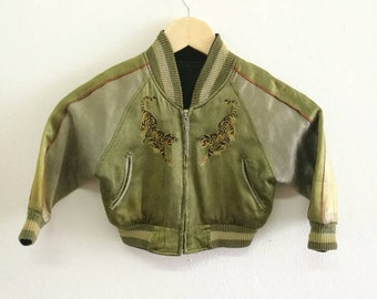 Sale!! Vintage Baby Japanese Tradisional Sukajan Jacket Nippon Zipper Embroided Tiger Green Colour