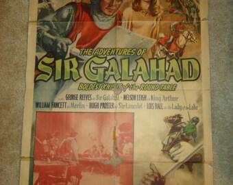 Original The Adventures Of Sir Galahad One Sheet Movie Poster 1949 Chapter 9 Treacherous Magic George Reeves