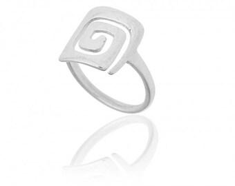 Polished Sterling Silver Greek Design Ring with Meander Motif