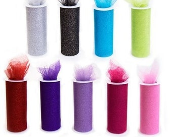 9 roll Variety Pack of 6 inch x 30 ft GLITTER Tulle with Free Shipping