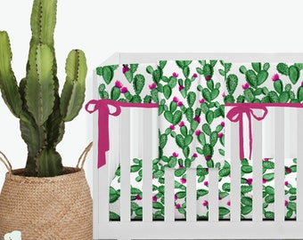 Watercolor Cactus and Hot Pink Modern Baby Girl Crib Bedding | Cactus Nursery | Cactus Girl Nursery | Hot Pink Baby Bedding