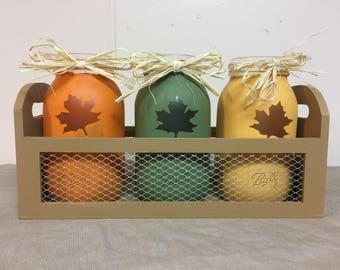 Hand painted fall mason jar decor - Can Customize!