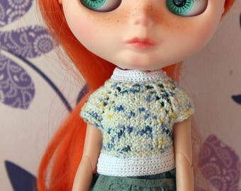 Blythe knitted fancy cardigan white  knitted doll jacket shortsleeve sweater Blythe Azone pure neemo knitted outfit