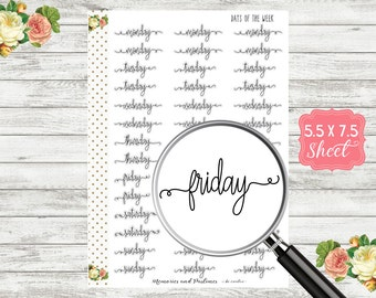 Days of the Week Planner Stickers - Script Stickers - Cursive Stickers - BUJO Stickers - Bullet Journal Stickers - Travelers Notebook - M129