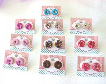 Donut stud earrings, polymer clay food, miniature food studs, birthday donuts, foodie gift, women gift, kawaii stud earrings