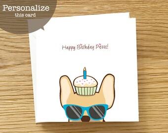 Dog Custom Birthday Card - French Bulldog Birthday Card, Frenchie birthday card, Birthday Card for Frenchie Lover, Birthday Card for Men