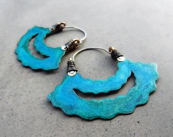 Ocean Breeze Happy Hoops, Turquoise Patina, Tribal, Handmade, Hip, Gypsy, Joy Earrings