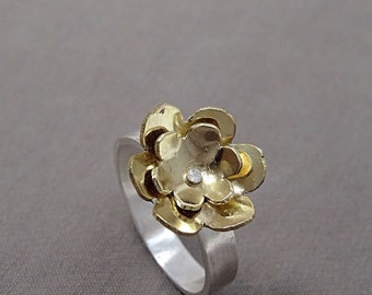 Brass and sterling silver riveted flower ring