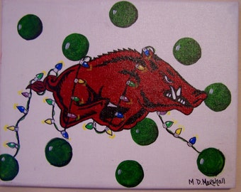 Licensed Original Razorback Christmas Painting 11 x 14