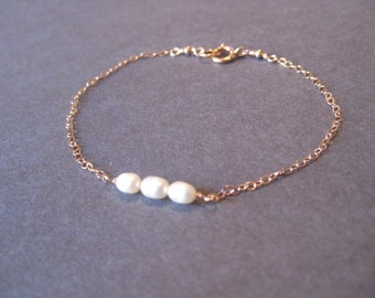 Freshwater Pearl and Rose Gold Filled Bracelet