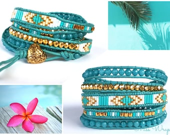 Wrap bracelet 5 gold plated turquoise rounds aquamarines leather bracelet gold plated cuff leather rows faceted round