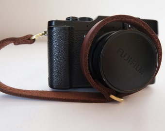 handmade quality brown leather camera wrist strap