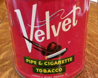1920s Velvet pipe and cigarette tobacco tin