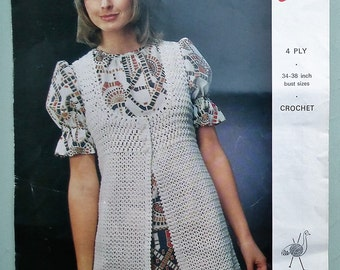Vintage Crochet Pattern 1960s 1970s Women's Long Waistcoat Gilet Lacy Design 60s 70s UK original pattern Emu No. 2888 UK retro boho style