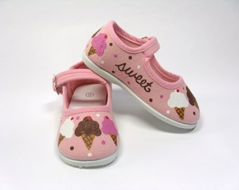 Ice Cream Cone Shoes, Birthday Party Outfit, Hand Painted Pink Mary Janes for Baby or Toddler