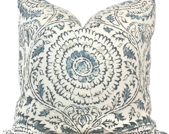 Decorative Pillow Cover, Kravet Blue Kamala  18x18, 20x20 or 22x22, Accent Pillow, Throw Pillow