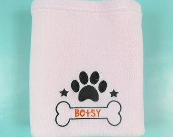 Personalised Embroidered Dog Blanket Soft Fleece Puppy Paw Bone Design Pink dog Bed gift for dog pet blanket gift for dog pet comforter pet
