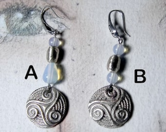 Celtic earrings : handmade silvercolour bronze Triskel,  bronze and moonstone   A or B or  other gembeads