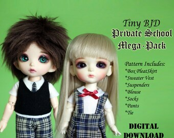 Private School Uniform mega pack Boy Girl Doll clothes outfit pattern for Tiny BJD: PukiFee Lati Yellow & similar sized dolls