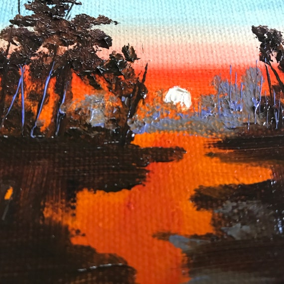 Miniatures, Small Art, Tiny painting, Sunset River Painting