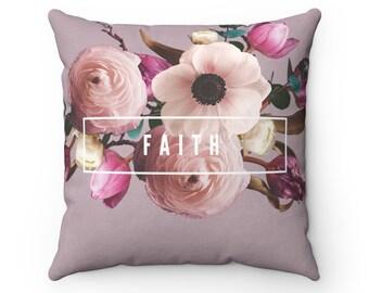 Faith Floral Square Pillow Case