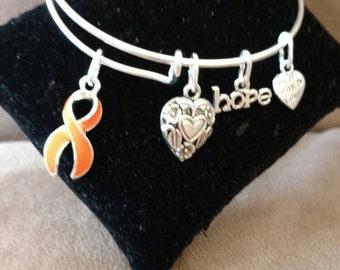 Multiple Sclerosis / Leukemia Awareness Support Orange Ribbon Charm Bangle Bracelet