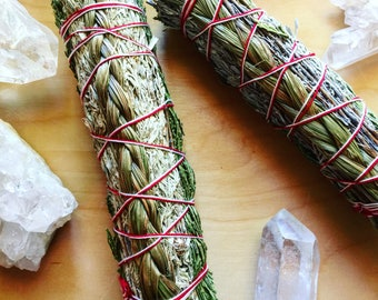 Harmony Smudge Stick + Smudge Feather | Cedar, Sweetgrass, + Sage Smudge for Harmony, Positive Vibes, Earth Medicine + Cleansing