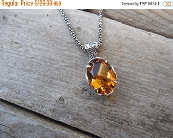 ON SALE Madeira citrine necklace handmade in sterling silver