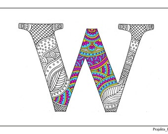Zentangle alphabet coloring pages henna doodle alphabet