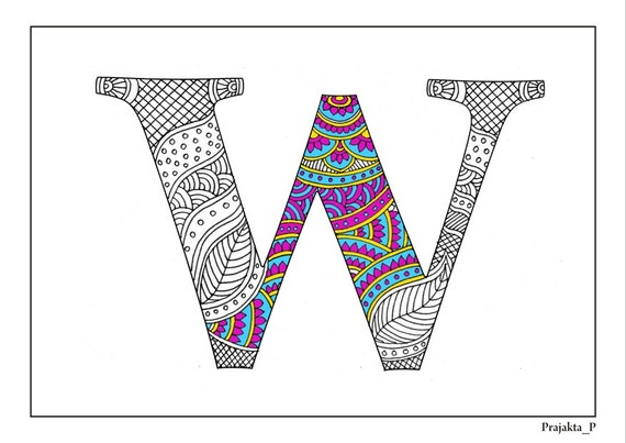 Adult Coloring Pages Zentangle Alphabet W Printable Coloring