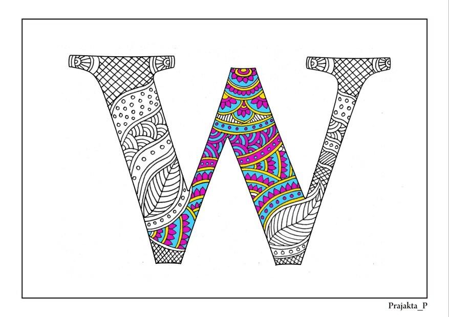 Adultos colorear alfabeto zentangle W para imprimir páginas