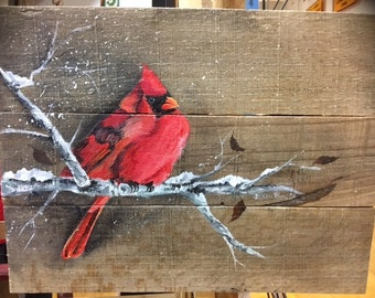 Cardinal Pallet Painting, Distressed Wood Art