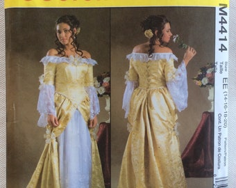McCall's Pattern 4414 - Renaissance Off Shoulder Boned Bodice Gown w/Back Lacing, Undersleeves & Pleated Overskirt - Sizes 14-20 UNCUT