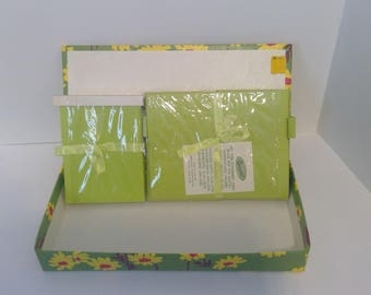 Vintage Stationery in Box,  Green Stationery in Yellow Flowered Box