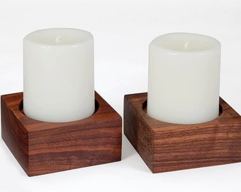 Wood Candle Holder / Square Candle Holders / Candle Holder Set / 3 in. Diameter Pillar Candle Holders