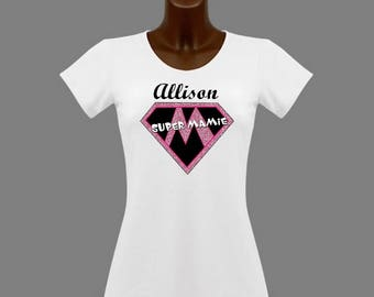 T-shirt women white super Grandma personalized with name
