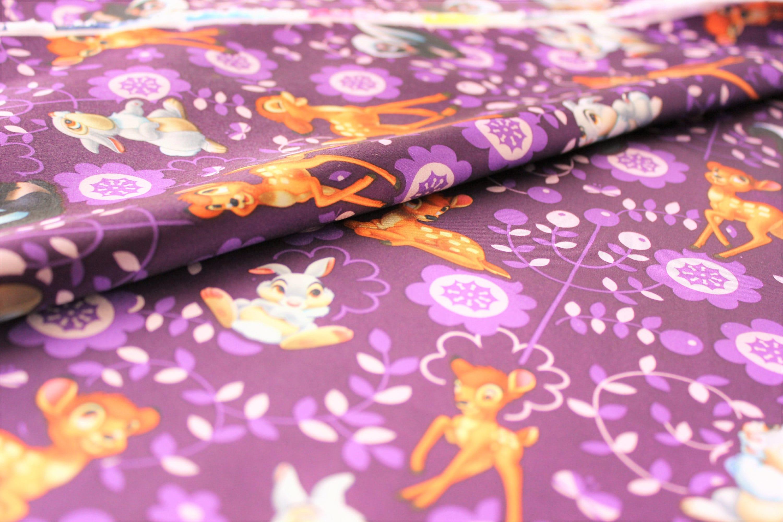 Disney Bambi Fabric Sateen Satin Purple