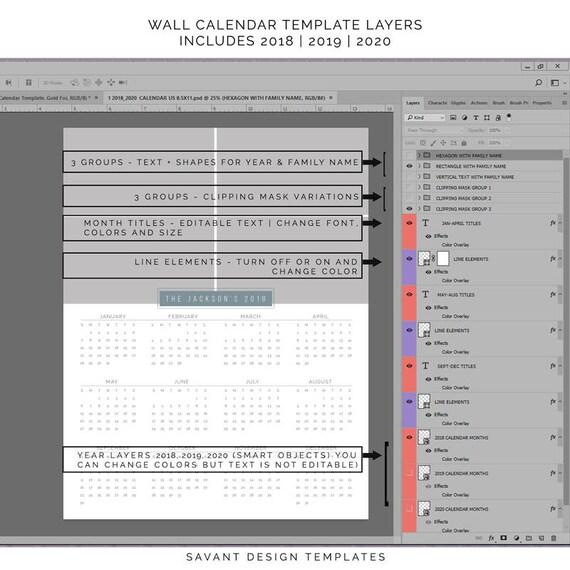 Calendar 2018 2019 2020 A4 Calendar Template Printable