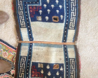Vintage Nomadic Tibetan tribal hand made Rug