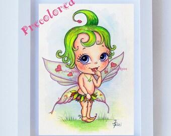 Nursery Wall Art Printable, Watercolor Painting, Handmade, Baby illustration Print, Decor Wall Art, Room Decor Printable Art. The Baby Fairy