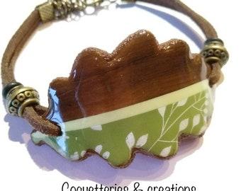 Bracelet feuille effet bois et impression feuillage. polymère fimo fait main en France nature feuille