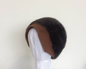 1970s Brown Mohair Hat Vintage
