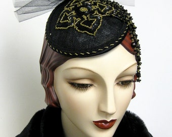ON SALE/ Sinamay Fascinator with Beaded Applique'
