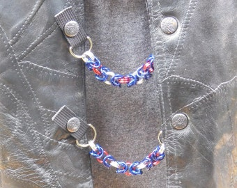 """Chain Mail Vest Extenders - 5/16"""" Red Blue and Silver Aluminium - Set of 4"""