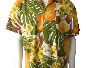 Vintage 1960s Mens Hawaiian Shirt Size L