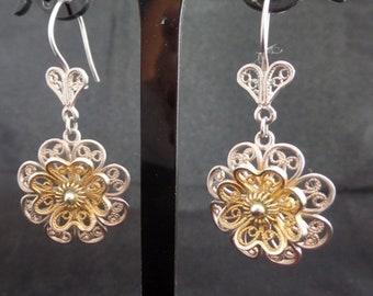 Vintage Filigree Flower Drop Earrings from Turkey in Sterling Silver